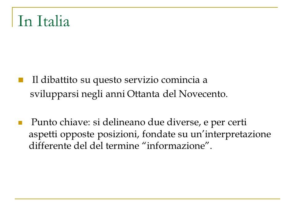 In Italia Il dibattito su questo servizio comincia a svilupparsi negli anni Ottanta del Novecento.