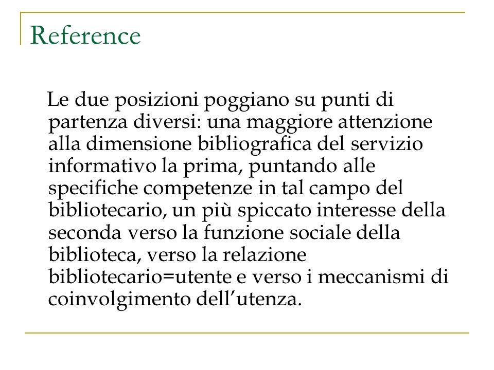 In Italia: anni Ottanta Pubblicazione di una serie di interventi che rinnovano la riflessione biblioteconomica (1981, Alfredo Serrai, Guida alla biblioteconomia) 1987.