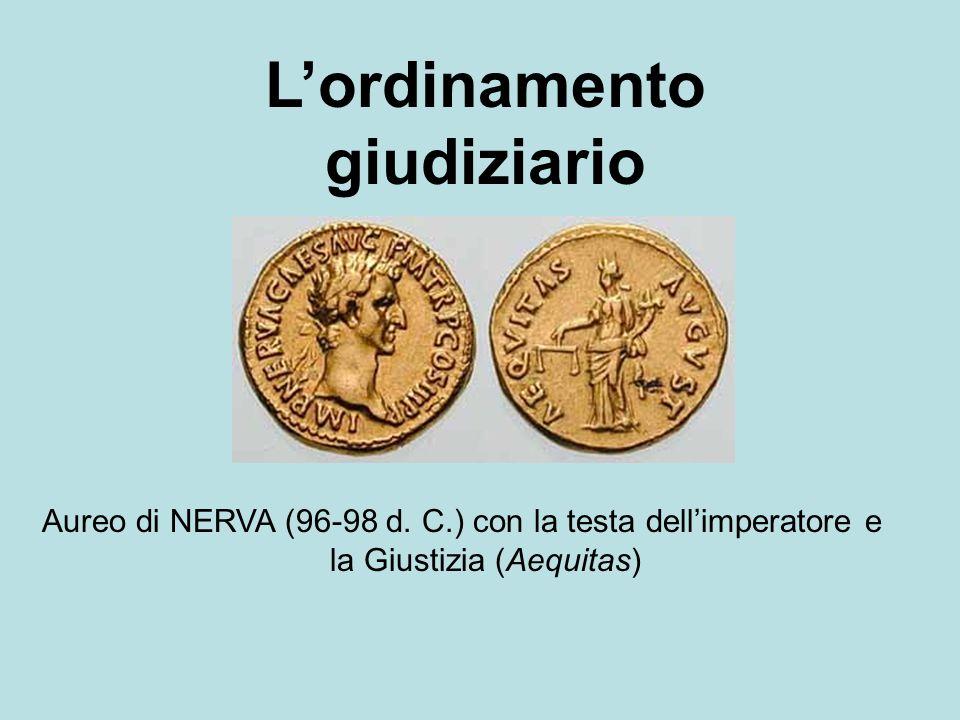 Lordinamento giudiziario Aureo di NERVA (96-98 d. C.) con la testa dellimperatore e la Giustizia (Aequitas)