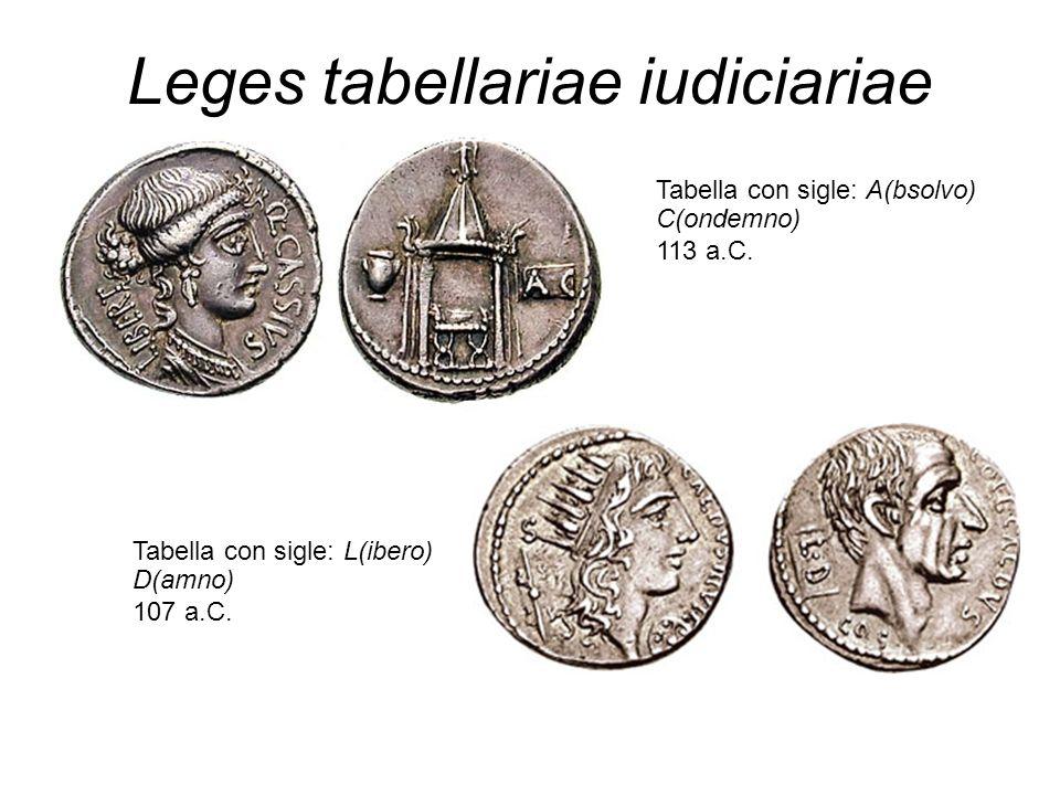 Leges tabellariae iudiciariae Tabella con sigle: A(bsolvo) C(ondemno) 113 a.C. Tabella con sigle: L(ibero) D(amno) 107 a.C.