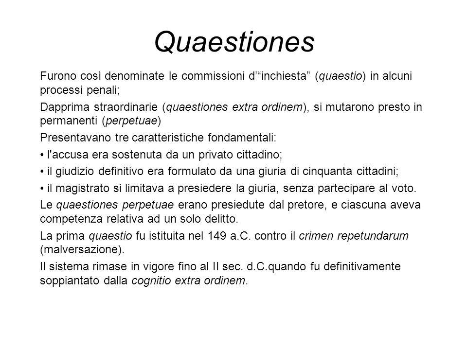Quaestiones Furono così denominate le commissioni dinchiesta (quaestio) in alcuni processi penali; Dapprima straordinarie (quaestiones extra ordinem),