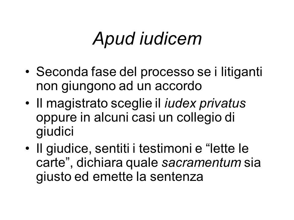Apud iudicem Seconda fase del processo se i litiganti non giungono ad un accordo Il magistrato sceglie il iudex privatus oppure in alcuni casi un coll