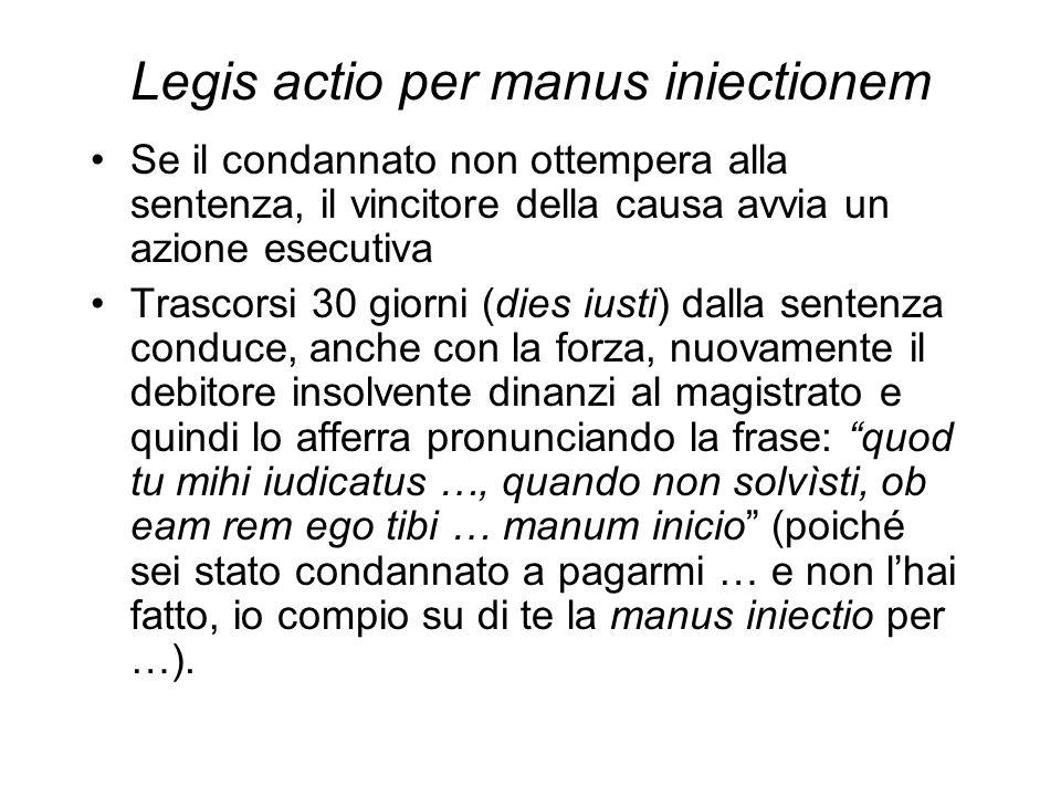 Legis actio per manus iniectionem Se il condannato non ottempera alla sentenza, il vincitore della causa avvia un azione esecutiva Trascorsi 30 giorni