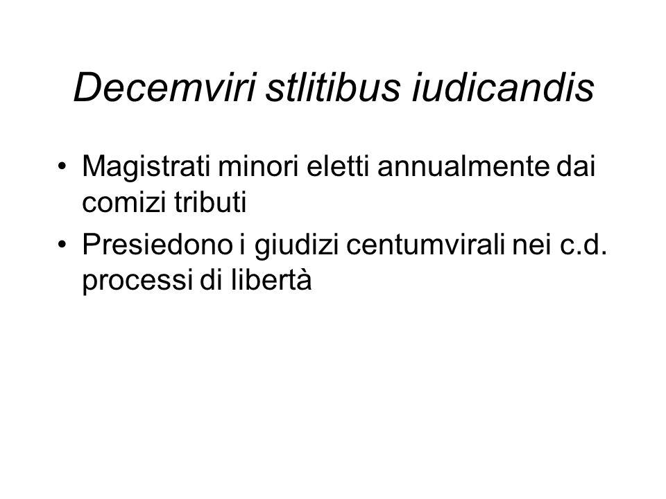 Decemviri stlitibus iudicandis Magistrati minori eletti annualmente dai comizi tributi Presiedono i giudizi centumvirali nei c.d. processi di libertà