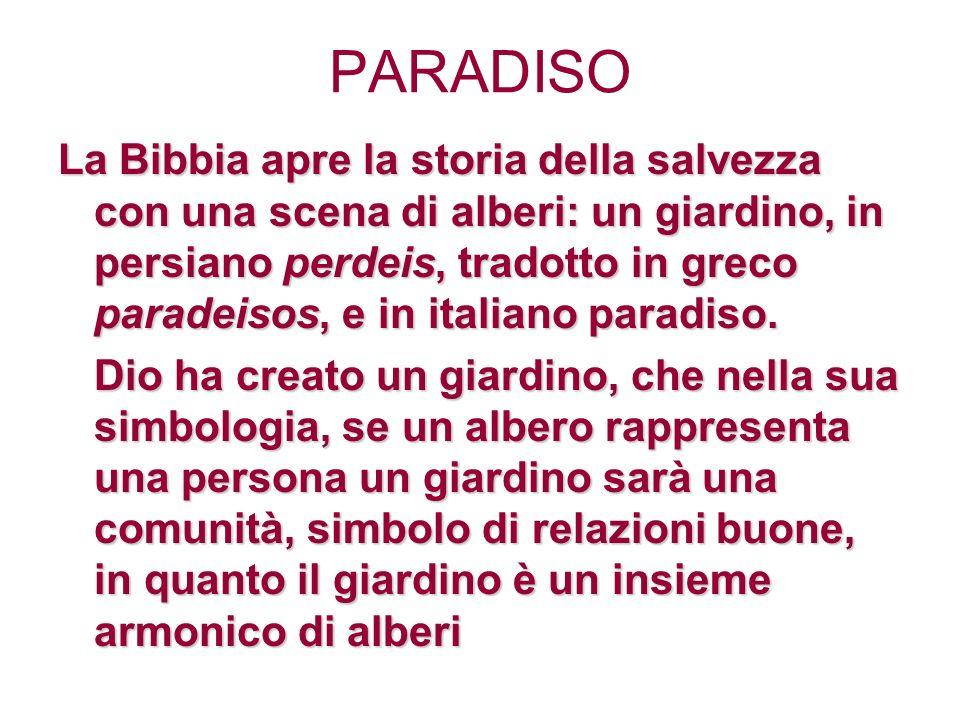 PARADISO La Bibbia apre la storia della salvezza con una scena di alberi: un giardino, in persiano perdeis, tradotto in greco paradeisos, e in italiano paradiso.
