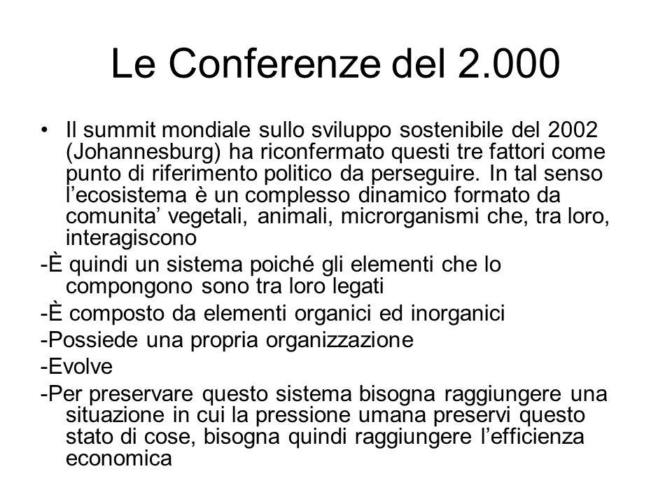 Le Conferenze del 2.000 Il summit mondiale sullo sviluppo sostenibile del 2002 (Johannesburg) ha riconfermato questi tre fattori come punto di riferimento politico da perseguire.