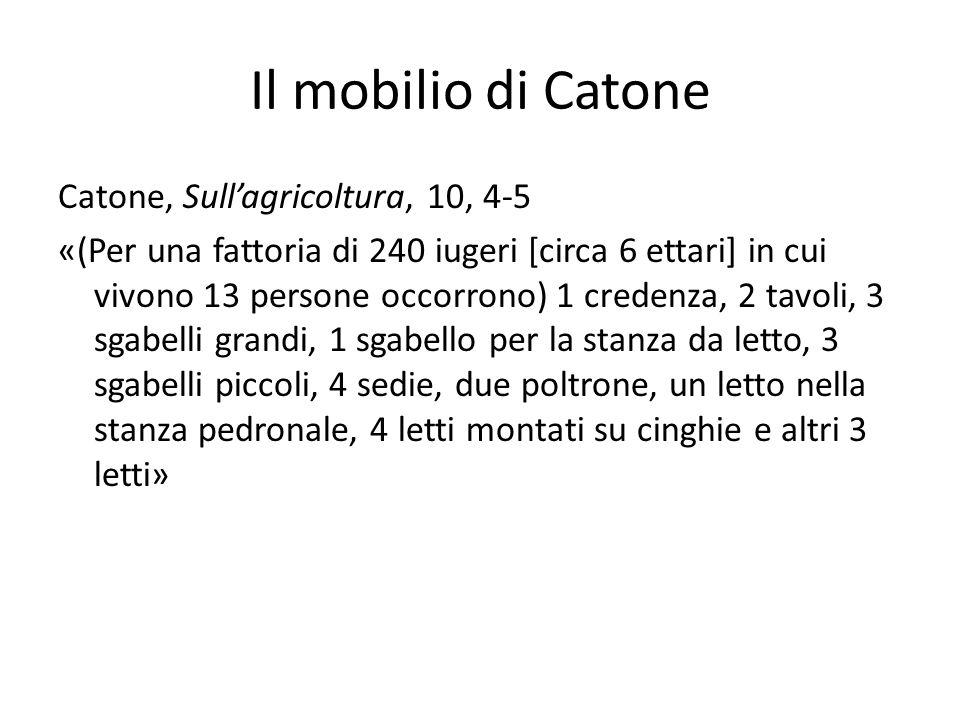 Il mobilio di Catone Catone, Sullagricoltura, 10, 4-5 «(Per una fattoria di 240 iugeri [circa 6 ettari] in cui vivono 13 persone occorrono) 1 credenza