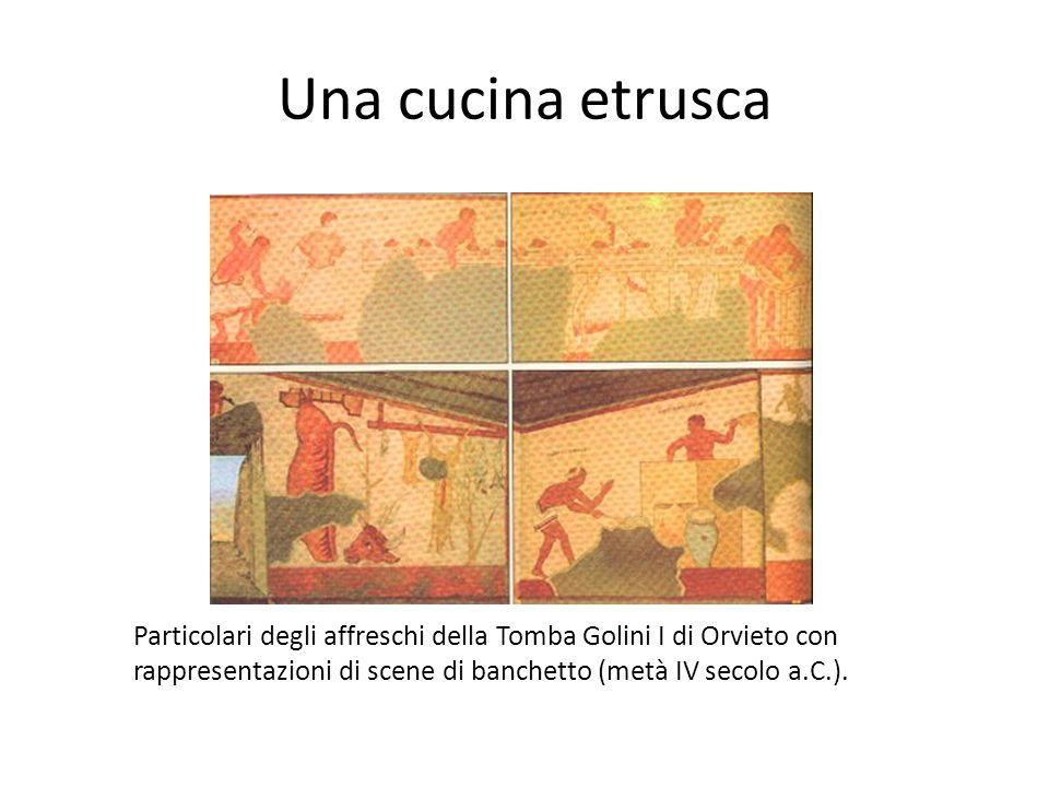 Una cucina etrusca Particolari degli affreschi della Tomba Golini I di Orvieto con rappresentazioni di scene di banchetto (metà IV secolo a.C.).
