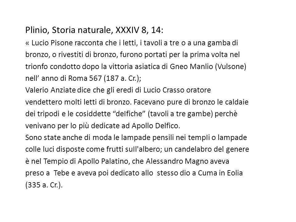 Plinio, Storia naturale, XXXIV 8, 14: « Lucio Pisone racconta che i letti, i tavoli a tre o a una gamba di bronzo, o rivestiti di bronzo, furono porta