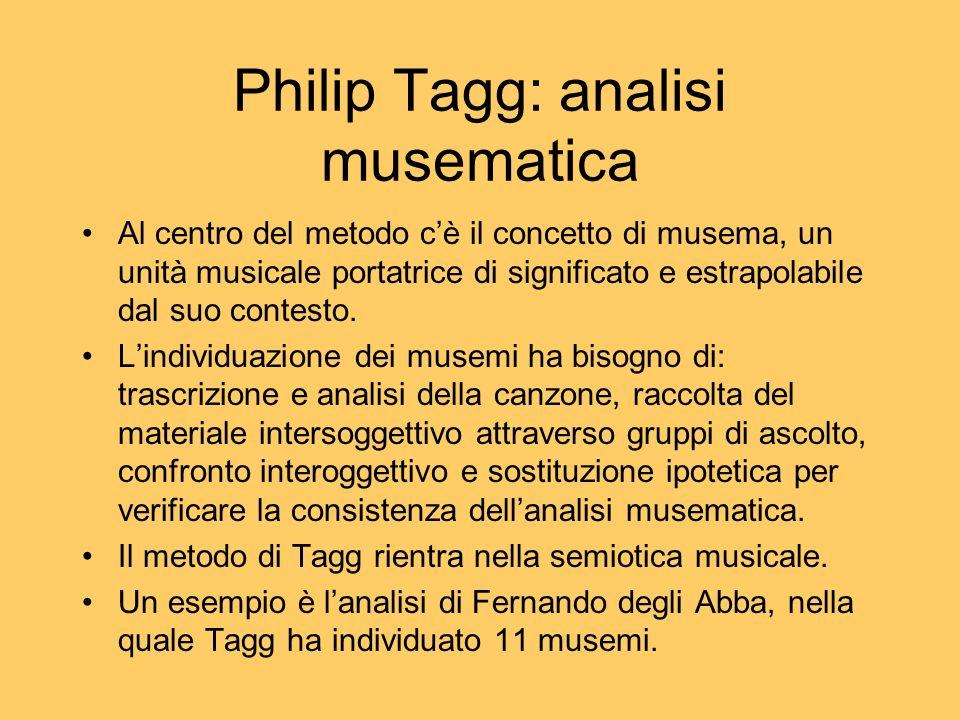 Philip Tagg: analisi musematica Al centro del metodo cè il concetto di musema, un unità musicale portatrice di significato e estrapolabile dal suo con