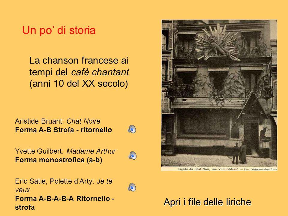 Un po di storia La chanson francese ai tempi del cafè chantant (anni 10 del XX secolo) Aristide Bruant: Chat Noire Forma A-B Strofa - ritornello Yvett