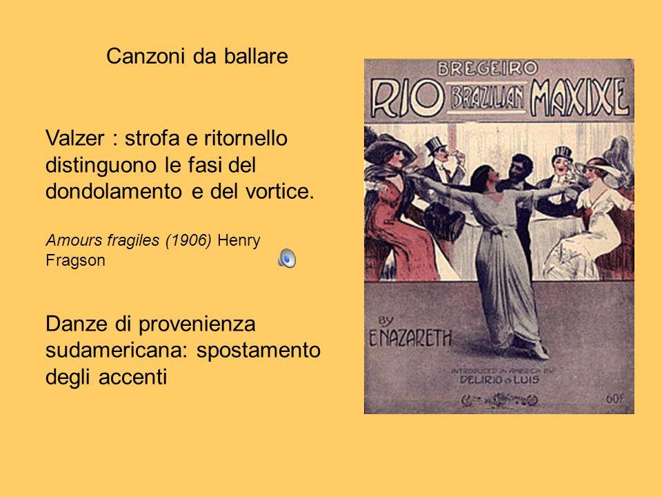 Canzoni da ballare Valzer : strofa e ritornello distinguono le fasi del dondolamento e del vortice. Amours fragiles (1906) Henry Fragson Danze di prov