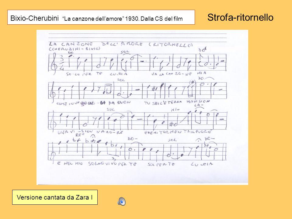 Bixio-Cherubini La canzone dellamore 1930. Dalla CS del film Versione cantata da Zara I Strofa-ritornello