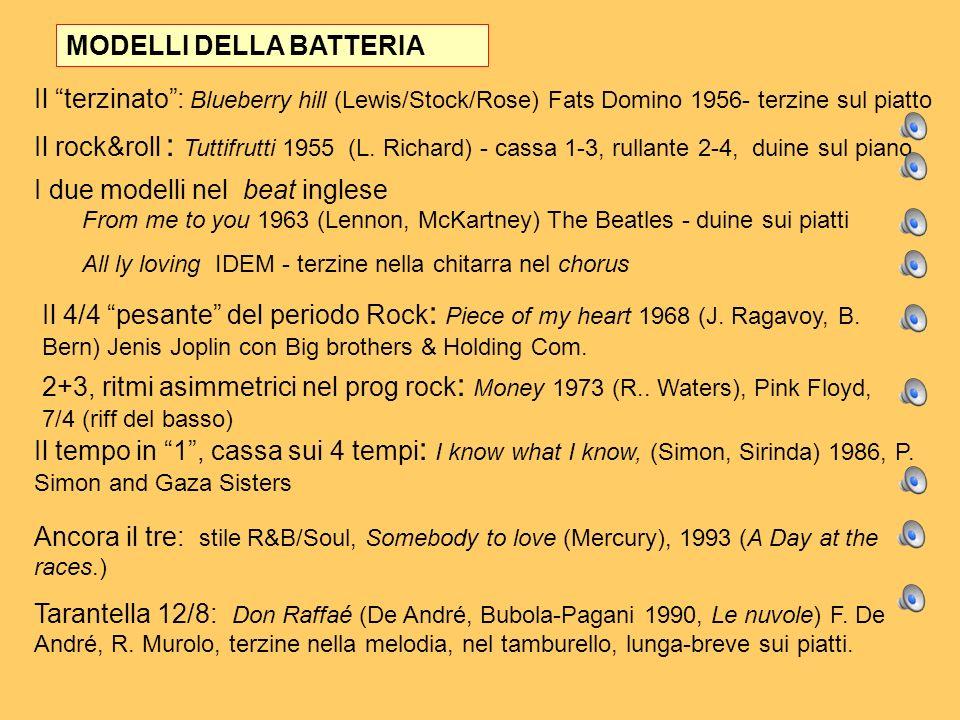 Il terzinato: Blueberry hill (Lewis/Stock/Rose) Fats Domino 1956- terzine sul piatto Il rock&roll : Tuttifrutti 1955 (L. Richard) - cassa 1-3, rullant