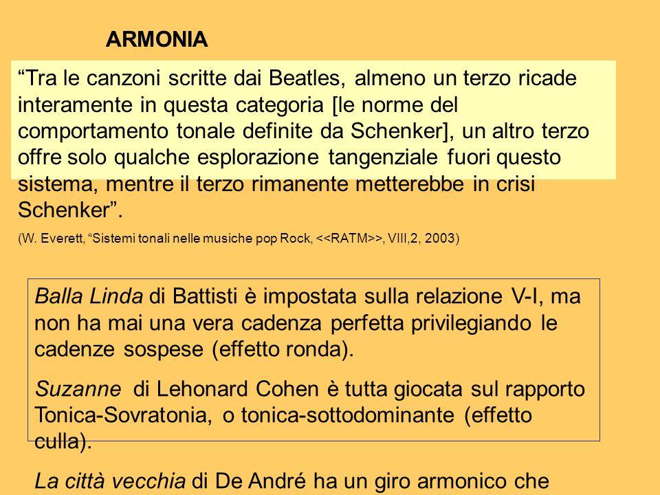 ARMONIA Balla Linda di Battisti è impostata sulla relazione V-I, ma non ha mai una vera cadenza perfetta privilegiando le cadenze sospese (effetto ron
