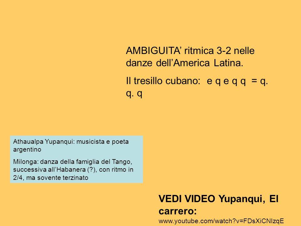 Athaualpa Yupanqui: musicista e poeta argentino Milonga: danza della famiglia del Tango, successiva allHabanera (?), con ritmo in 2/4, ma sovente terz