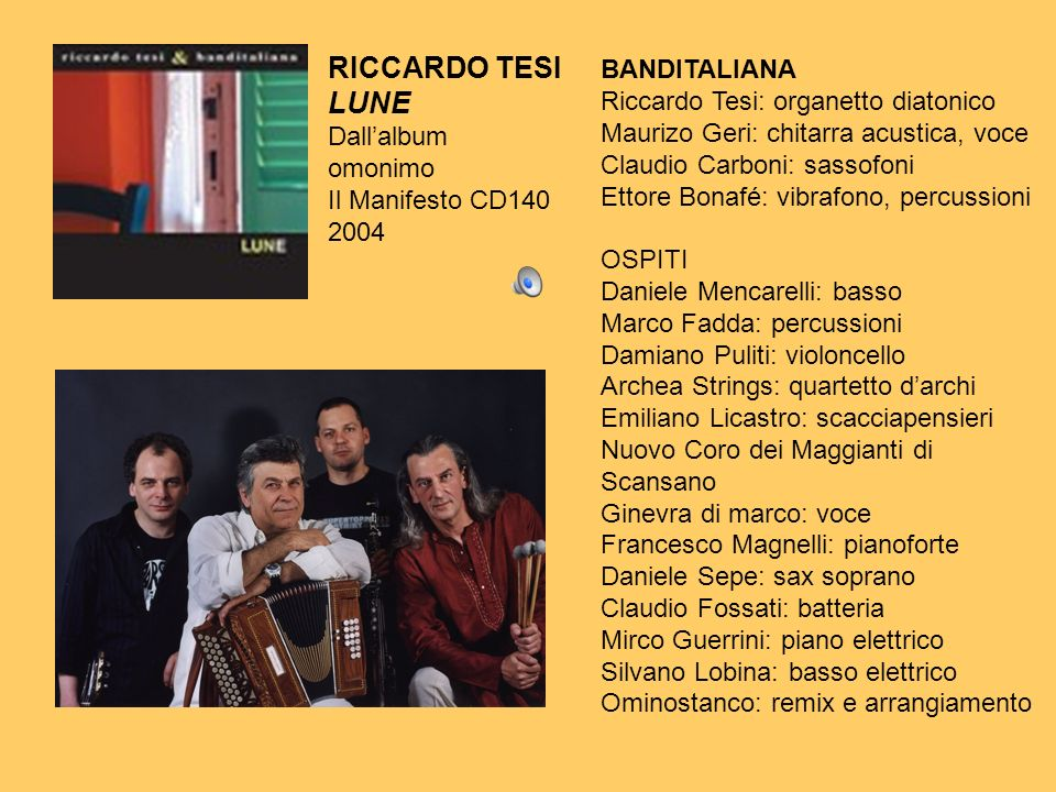 RICCARDO TESI LUNE Dallalbum omonimo Il Manifesto CD140 2004 BANDITALIANA Riccardo Tesi: organetto diatonico Maurizo Geri: chitarra acustica, voce Cla