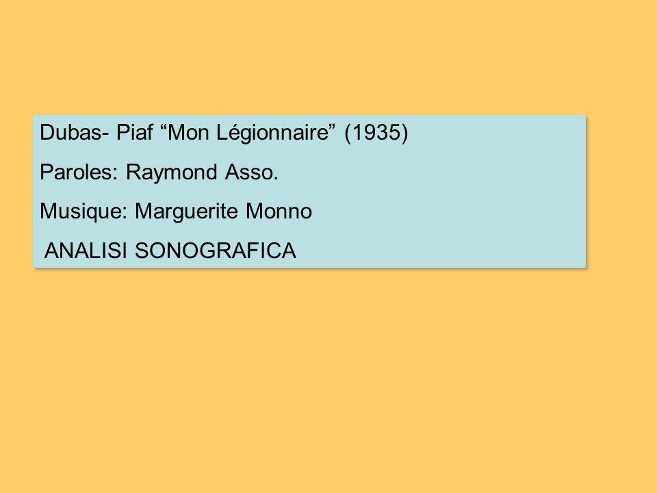 Dubas- Piaf Mon Légionnaire (1935) Paroles: Raymond Asso. Musique: Marguerite Monno ANALISI SONOGRAFICA Dubas- Piaf Mon Légionnaire (1935) Paroles: Ra
