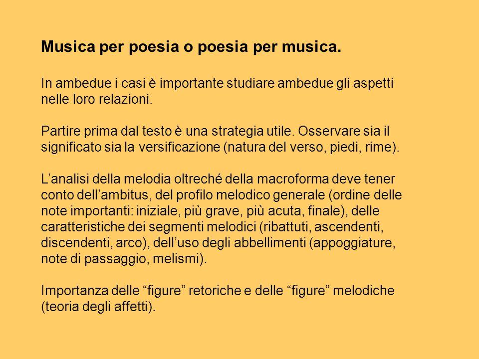 Musica per poesia o poesia per musica. In ambedue i casi è importante studiare ambedue gli aspetti nelle loro relazioni. Partire prima dal testo è una