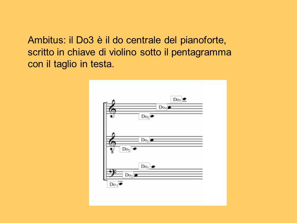 Ambitus: il Do3 è il do centrale del pianoforte, scritto in chiave di violino sotto il pentagramma con il taglio in testa.