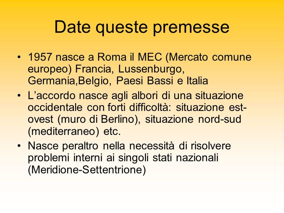 Date queste premesse 1957 nasce a Roma il MEC (Mercato comune europeo) Francia, Lussenburgo, Germania,Belgio, Paesi Bassi e Italia Laccordo nasce agli