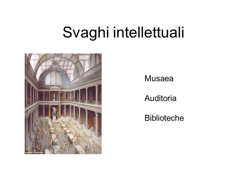 Svaghi intellettuali Musaea Auditoria Biblioteche