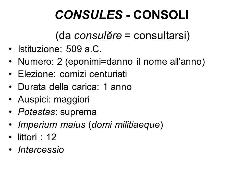 CONSULES - CONSOLI (da consulĕre = consultarsi) Istituzione: 509 a.C. Numero: 2 (eponimi=danno il nome allanno) Elezione: comizi centuriati Durata del