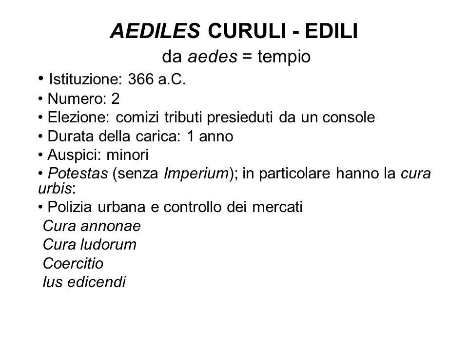 AEDILES CURULI - EDILI da aedes = tempio Istituzione: 366 a.C. Numero: 2 Elezione: comizi tributi presieduti da un console Durata della carica: 1 anno