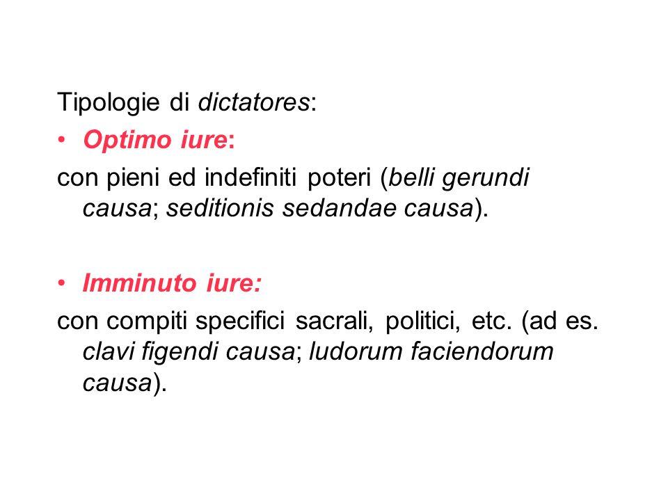 Tipologie di dictatores: Optimo iure: con pieni ed indefiniti poteri (belli gerundi causa; seditionis sedandae causa). Imminuto iure: con compiti spec