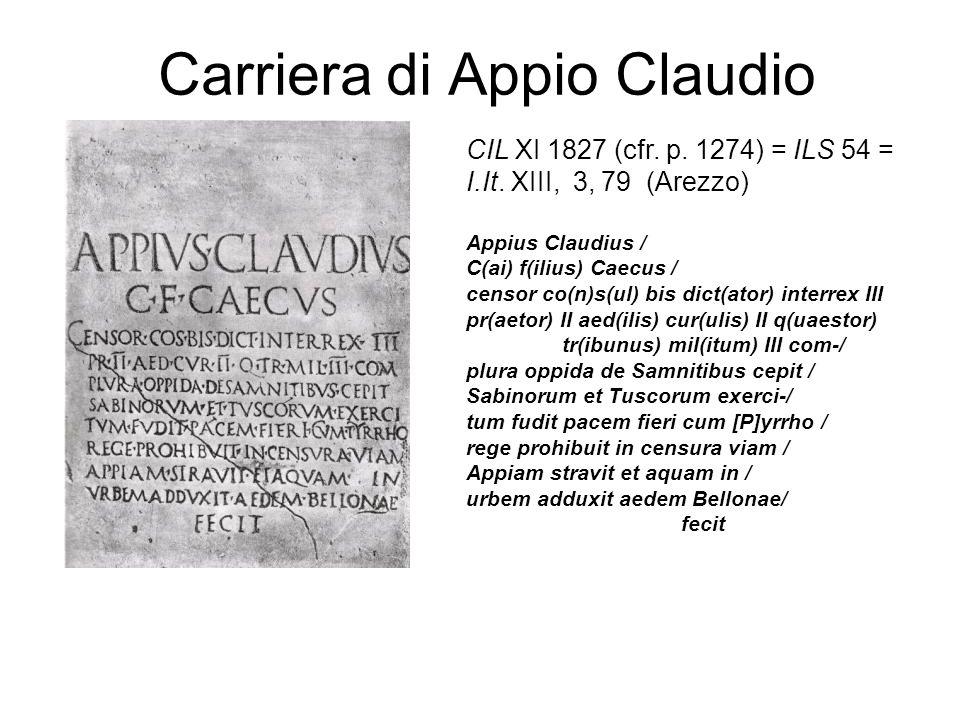 Carriera di Appio Claudio CIL XI 1827 (cfr. p. 1274) = ILS 54 = I.It. XIII, 3, 79 (Arezzo) Appius Claudius / C(ai) f(ilius) Caecus / censor co(n)s(ul)