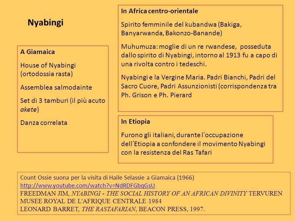 Nyabingi In Africa centro-orientale Spirito femminile del kubandwa (Bakiga, Banyarwanda, Bakonzo-Banande) Muhumuza: moglie di un re rwandese, possedut