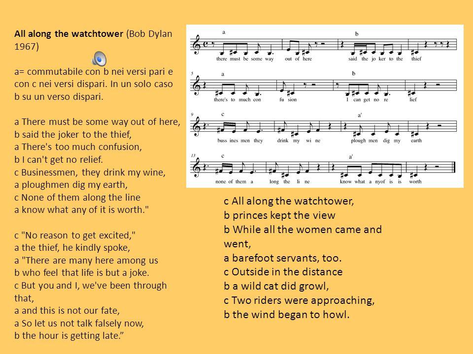 All along the watchtower (Bob Dylan 1967) a= commutabile con b nei versi pari e con c nei versi dispari. In un solo caso b su un verso dispari. a Ther