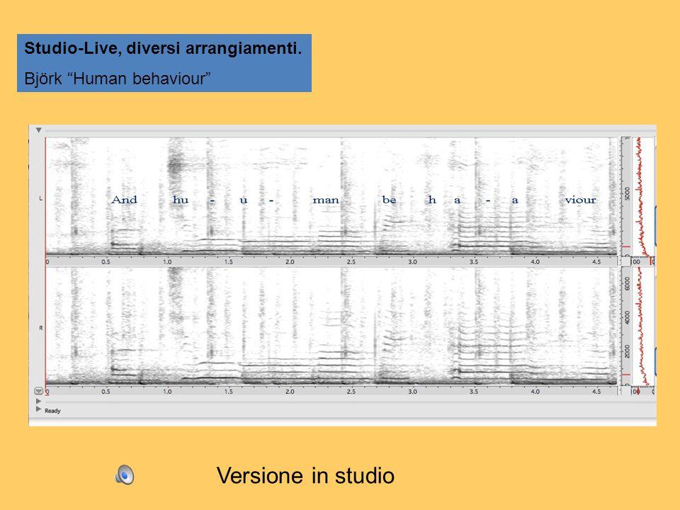 Studio-Live, diversi arrangiamenti. Björk Human behaviour Versione in studio