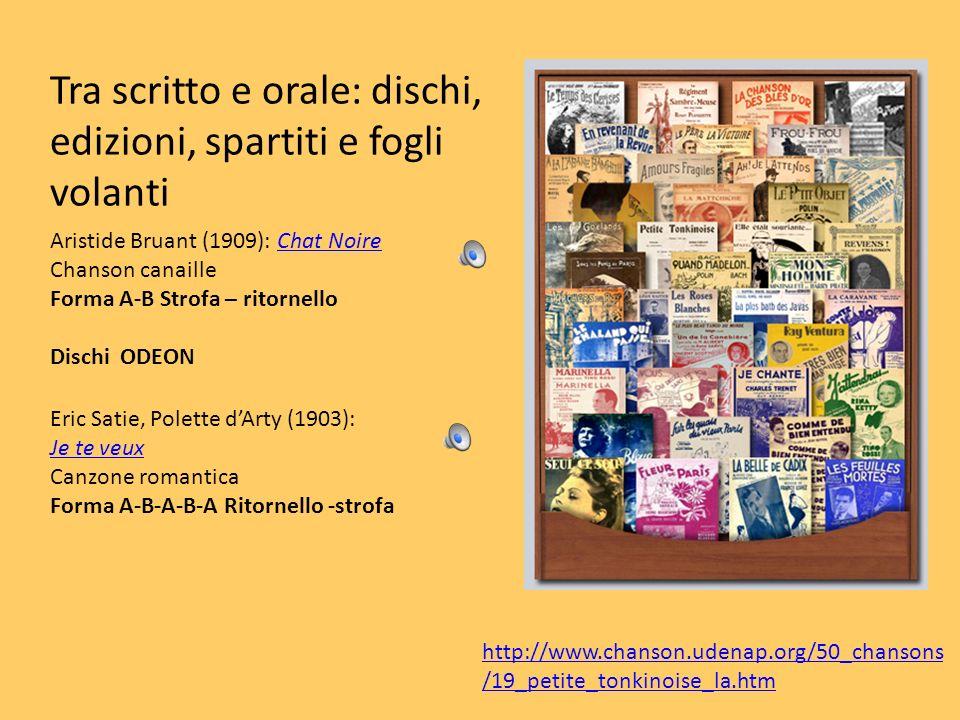 Tra scritto e orale: dischi, edizioni, spartiti e fogli volanti Aristide Bruant (1909): Chat NoireChat Noire Chanson canaille Forma A-B Strofa – ritor