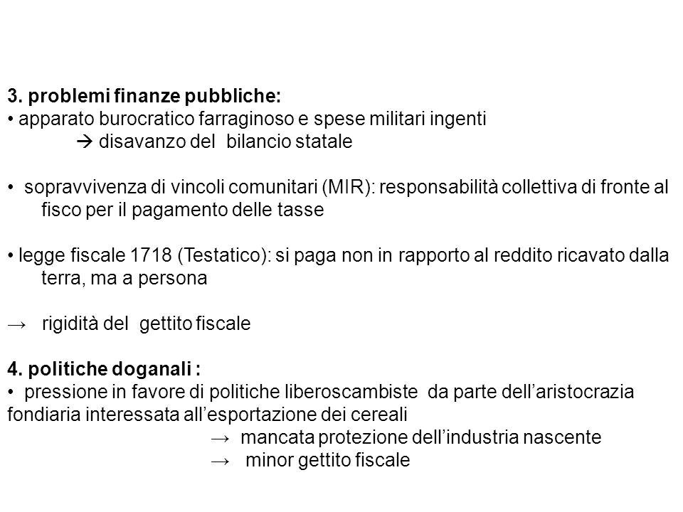 3. problemi finanze pubbliche: apparato burocratico farraginoso e spese militari ingenti disavanzo del bilancio statale sopravvivenza di vincoli comun