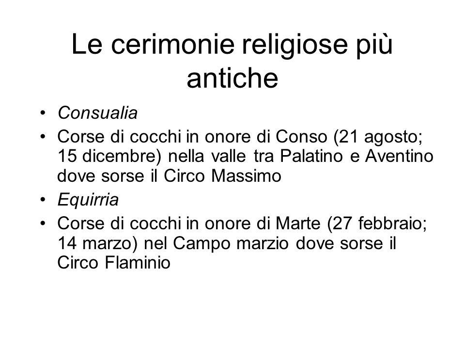 Le cerimonie religiose più antiche Consualia Corse di cocchi in onore di Conso (21 agosto; 15 dicembre) nella valle tra Palatino e Aventino dove sorse