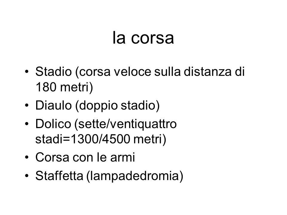 la corsa Stadio (corsa veloce sulla distanza di 180 metri) Diaulo (doppio stadio) Dolico (sette/ventiquattro stadi=1300/4500 metri) Corsa con le armi