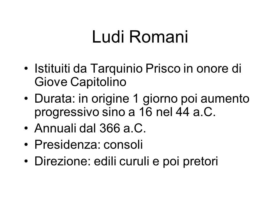 Ludi Romani Istituiti da Tarquinio Prisco in onore di Giove Capitolino Durata: in origine 1 giorno poi aumento progressivo sino a 16 nel 44 a.C. Annua