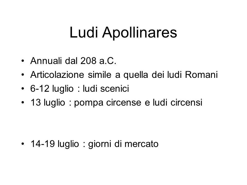 Ludi Apollinares Annuali dal 208 a.C. Articolazione simile a quella dei ludi Romani 6-12 luglio : ludi scenici 13 luglio : pompa circense e ludi circe