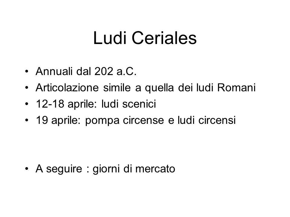 Ludi Ceriales Annuali dal 202 a.C. Articolazione simile a quella dei ludi Romani 12-18 aprile: ludi scenici 19 aprile: pompa circense e ludi circensi
