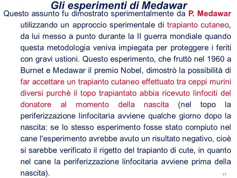 11 Gli esperimenti di Medawar Questo assunto fu dimostrato sperimentalmente da P. Medawar utilizzando un approccio sperimentale di trapianto cutaneo,