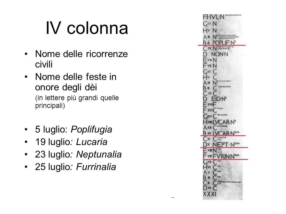 IV colonna Nome delle ricorrenze civili Nome delle feste in onore degli dèi (in lettere più grandi quelle principali) 5 luglio: Poplifugia 19 luglio: Lucaria 23 luglio: Neptunalia 25 luglio: Furrinalia