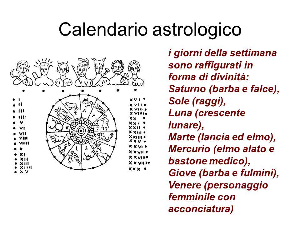 Calendario astrologico i giorni della settimana sono raffigurati in forma di divinità: Saturno (barba e falce), Sole (raggi), Luna (crescente lunare), Marte (lancia ed elmo), Mercurio (elmo alato e bastone medico), Giove (barba e fulmini), Venere (personaggio femminile con acconciatura)