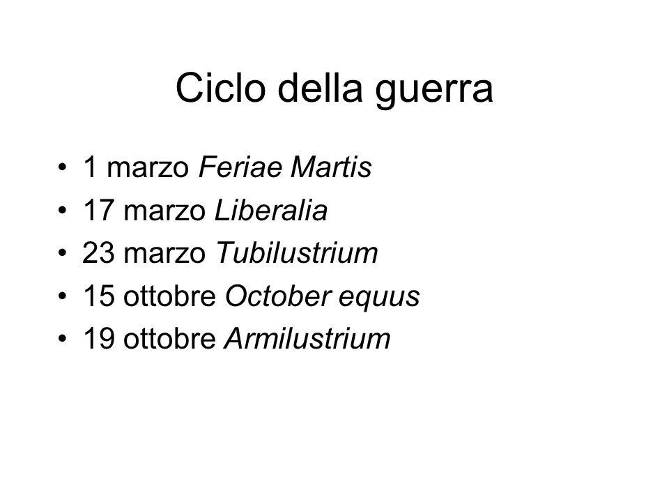 Ciclo della guerra 1 marzo Feriae Martis 17 marzo Liberalia 23 marzo Tubilustrium 15 ottobre October equus 19 ottobre Armilustrium
