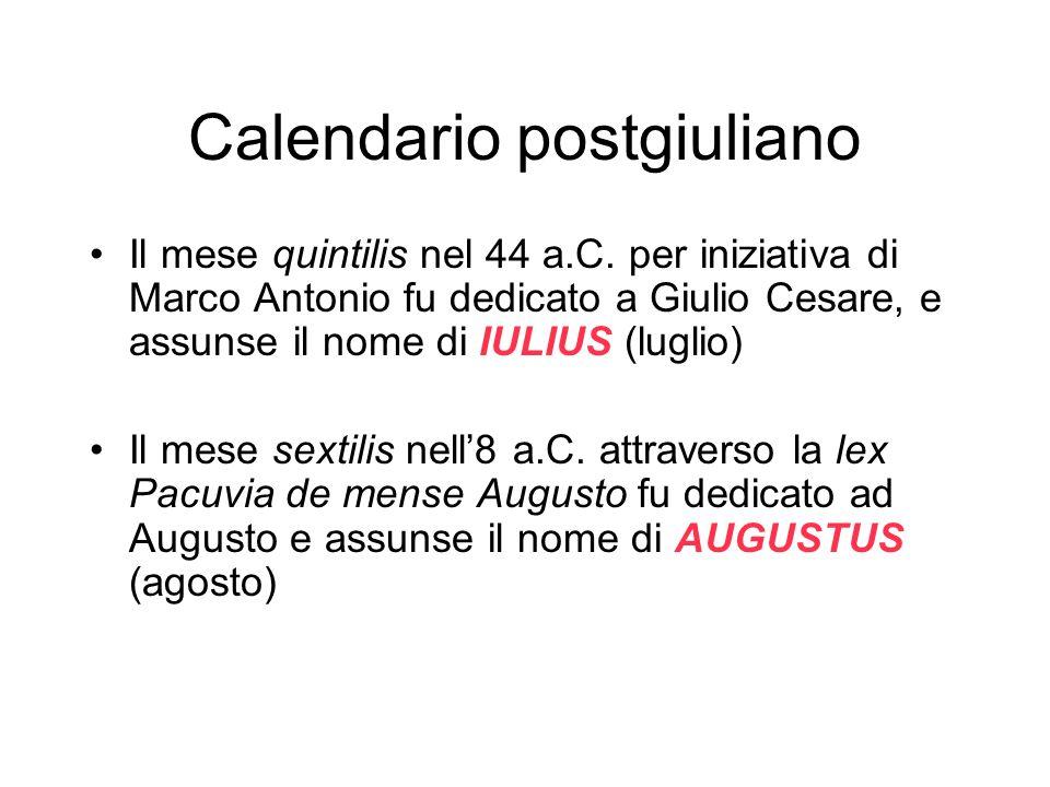 Calendario postgiuliano Il mese quintilis nel 44 a.C.