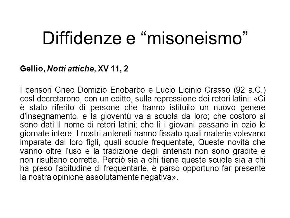 Diffidenze e misoneismo Gellio, Notti attiche, XV 11, 2 I censori Gneo Domizio Enobarbo e Lucio Licinio Crasso (92 a.C.) cosl decretarono, con un edit