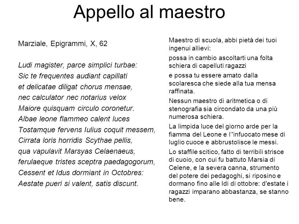 Appello al maestro Marziale, Epigrammi, X, 62 Ludi magister, parce simplici turbae: Sic te frequentes audiant capillati et delicatae diligat chorus me
