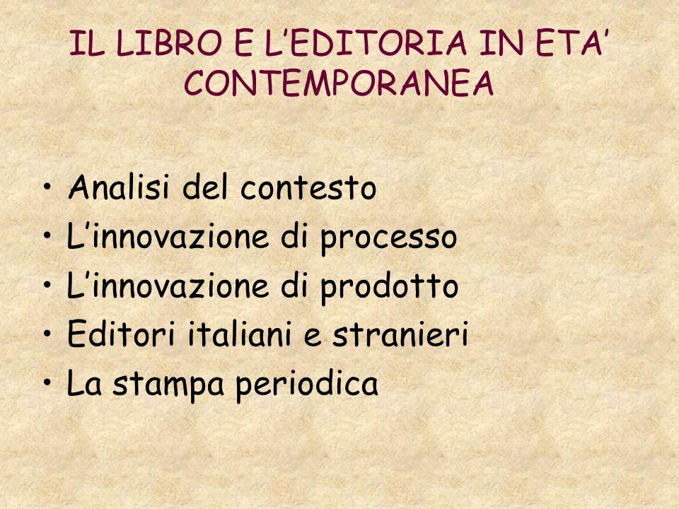 IL LIBRO E LEDITORIA IN ETA CONTEMPORANEA Analisi del contesto Linnovazione di processo Linnovazione di prodotto Editori italiani e stranieri La stamp
