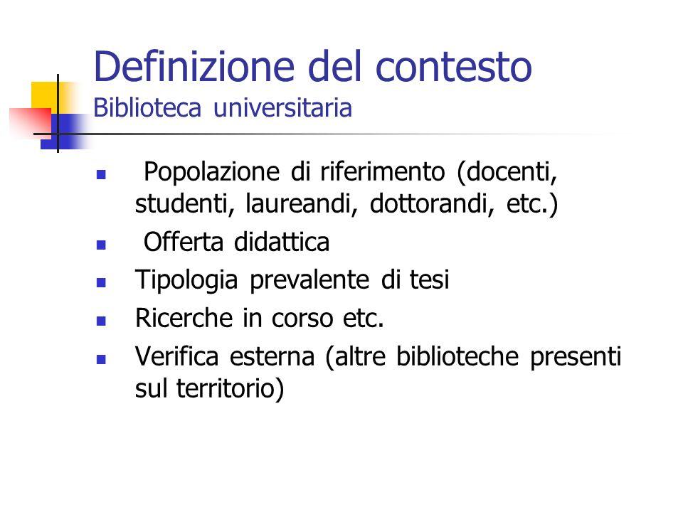 Definizione del contesto Biblioteca universitaria Popolazione di riferimento (docenti, studenti, laureandi, dottorandi, etc.) Offerta didattica Tipologia prevalente di tesi Ricerche in corso etc.