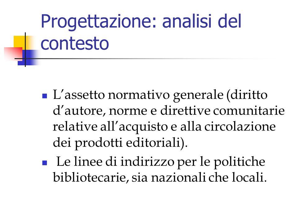 Progettazione: analisi del contesto Lassetto normativo generale (diritto dautore, norme e direttive comunitarie relative allacquisto e alla circolazione dei prodotti editoriali).